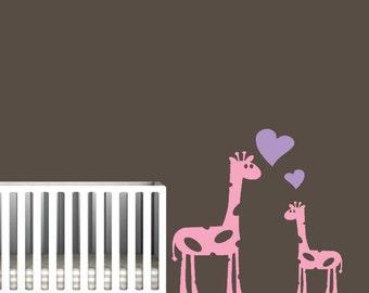 Giraffe Wall Art, Mommy or Daddy Giraffe with Baby Giraffe Decal