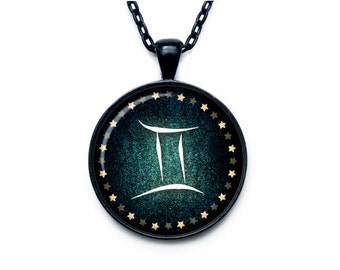 Gemini Necklace, Gemini Pendant Gemini jewelry Zodiac Sign Pendant, Constellation Jewelry Art gift for men for women Golg
