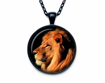 Lion pendant Lion necklace Lion jewelry nature necklace