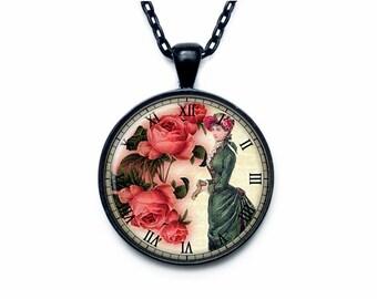 Victorian lady clock pendant Victorian lady clock necklace