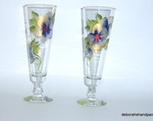 Gold Rim Glasses Hand Painted Gold Purple Flower Gift Custom Design Art Painting Upcycled Bar Kitchen Sweet 16 Cocktails Quinceanos