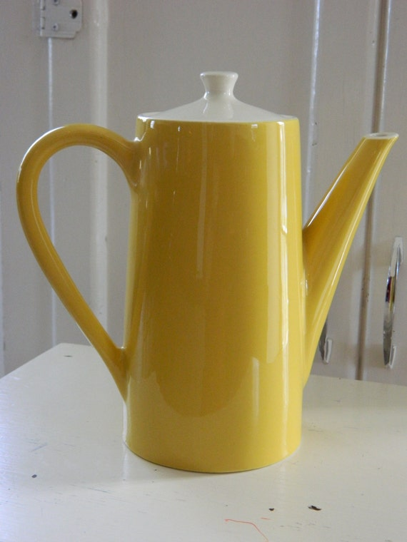 Mod Mustard Yellow Coffee Pot Ceramic