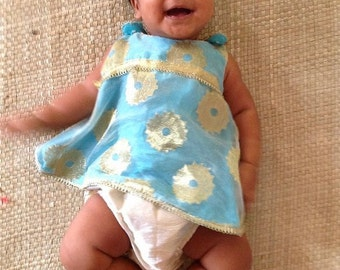 Indian Ethnic Crossover Pinafore made of  gold and blue brocade and silk with ruffled diaper cover