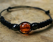 Amber and Hematite Bracelet Handmade Affordable Adjustable Gemstone