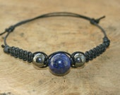 Bracelet Lapis Lazuli and Hematite handmade affordable adjustable gemstone