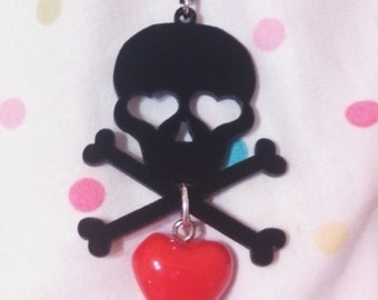 Black Skull Crossbones and Heart Necklace