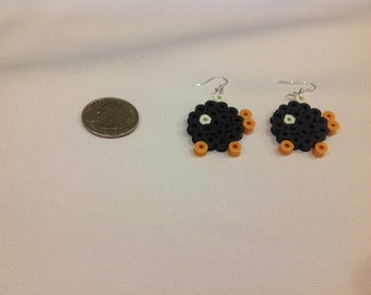 Bob-omb Earrings made from Perler Beads