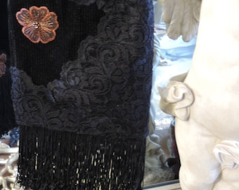 Hand Crafted, Elegant Black Lace and Corduroy Handbag with Appliqués and Fringe.