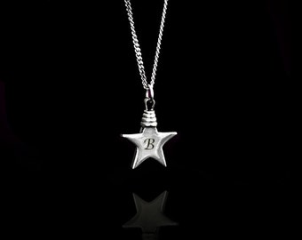 Star letter necklace, Personalized Star necklace, Tiny Star necklace, Silver Star necklace, Initial Star necklace, Monogram Star Necklace.