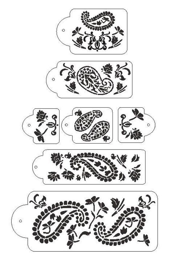 Wedding Cake Design Stencil : 7 pc Paisley 5 Tier Wedding Cake Stencil Set by ...