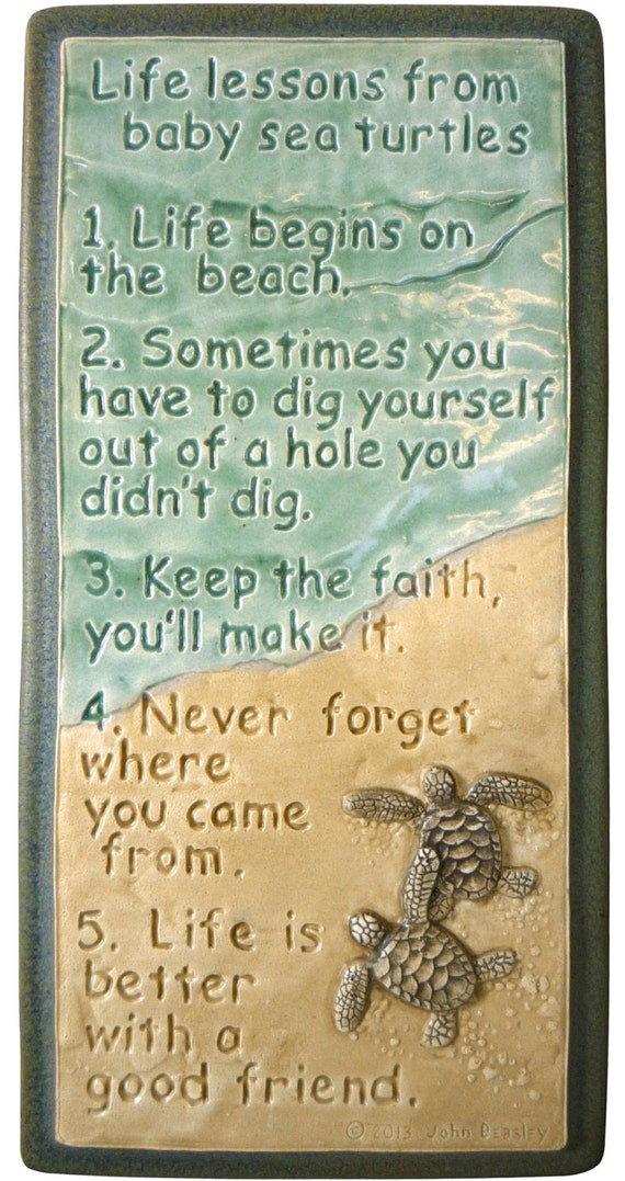 Meaning Of Wall Decor : Ceramic wall art life lessons baby sea turtles