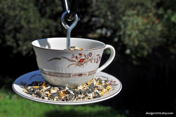 Tea Cup And Saucer Hanging Bird Feeder Bone