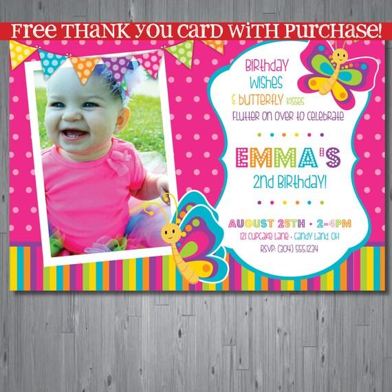 Butterfly Birthday Invitation First Birthday By