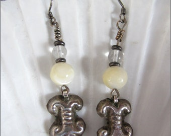 Vintage Tribal Silver and Mother of Pearl Dangles