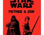 Darth Vader and Luke  printables triology customized posters for Fathers - AnalogDreamDesign