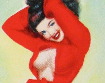 Vintage 1940's Pin Up Girl Artist Model Mini Print - Free Shipping
