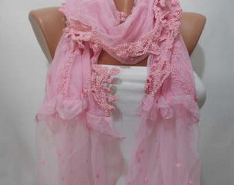Pink Lace Scarf Shawl Bridal Accessories Pink Wedding Bridesmaids Gifts Tulle Scarf Cowl Scarf Gifts For Her Spring Summer Wedding Scarf