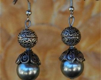 Silver grey Shell Pearl 12mm round, 5cm dangle earrings, gray pearl earrings