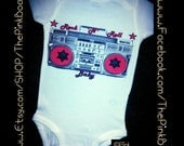 80's, Rock and Roll Girl onesie, shirt, bodysuit, romper, and jumper, by Liv & Co., Rock N Roll Baby, Boombox Shirt, Retro Kids Clothes, 90s