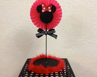 Minnie Mouse Birthday Centerpiece Red boa - Baby Shower