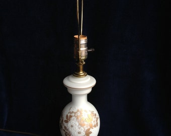 FREE SHIPPING - Petite Vintage Hand Painted Frosted Glass Table Lamp