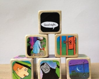 Goodnight Gorilla // Childrens Book Blocks // Natural Wood Toy