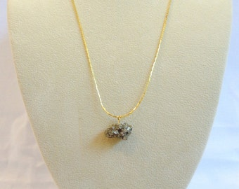 Pyrite Pendant Necklace, Gold Chain, Gold Necklace, Rock Necklace, Fools Gold Necklace, Delicate Necklace, Pyrite Chunk Necklace, Gold Chunk