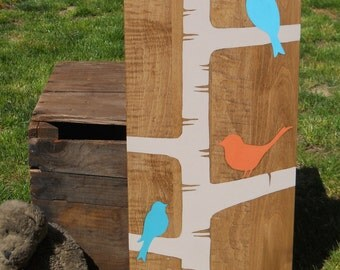Birds on birch tree, Birds, kids room art, Nursery art, Shabby chic wall art, Nursery decor, Bright, Painting on wood