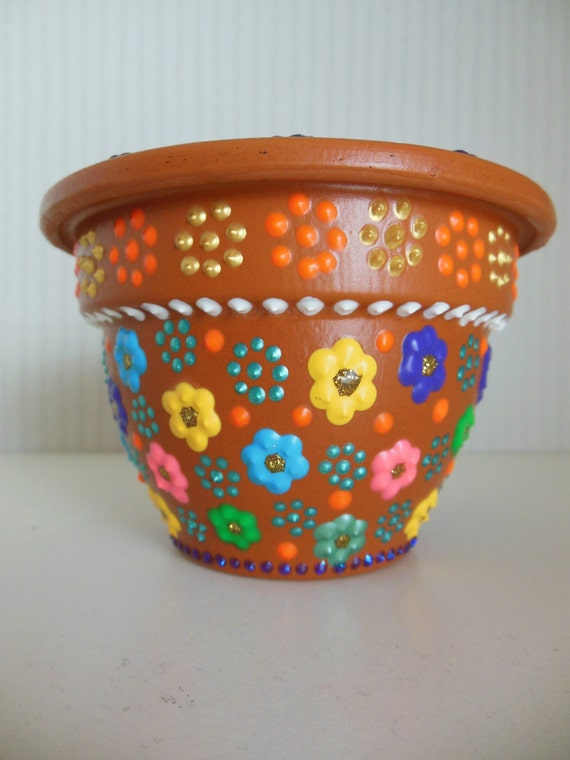Items similar to hand painted flower pot with small floral for Diy flower pot designs