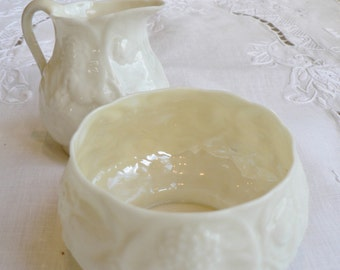 Vintage Belleek Cream and Sugar,  Antique Irish Belleek cream and sugar