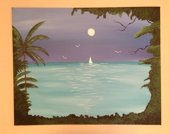 Palm tree painting,sailboat painting,moonlit painting,ocean scene,tree painting,nautical painting,canvas art,wall decor