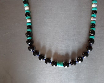 Turquoise, Onyx, Mother of Pearl, Blue Glass and Sterling Silver Beads Necklace