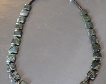 Silver Leaf Turquoise, Onyx, and Sterling Silver Beads Necklace