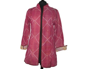 KANTHA JACKET - Medium - Long style - Size 12/14 - Red with white stitch pattern. Reverse pale yellow and lilac.