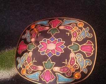 Cloisonné Brooch with Flower Butterfly Goldtone Design