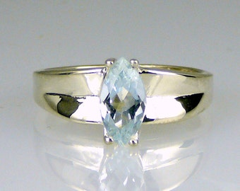 Natural Brazilian Marquis Aquamarine Ring 925 SS Sterling Silver