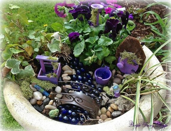 Purple Fairy Garden Kit Fairy Garden Kit Miniature Garden