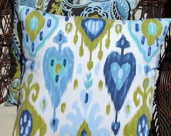 Featured in HGTV Magazine Fresh Ikat Blue, Aqua, Lime Pillow Cover//Throw Pillow