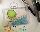 Baby Cthulhu First Swim Lesson - ACEO - 3.5 x 2.5 - Print - Marker