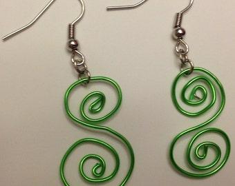 "Green Wire ""Curly-S"" Earrings"