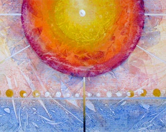 """Sun and planets, contemporary acrylic painting. GW Orb 9.    12"""" x  36"""".  Free U.S. shipping."""