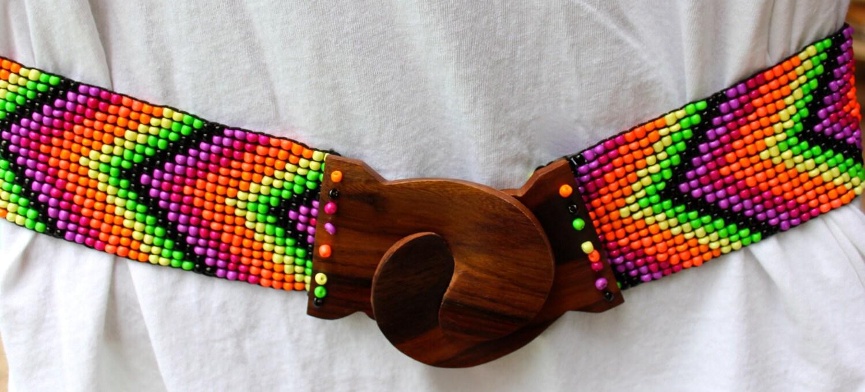 colorful arrow pattern beaded belt