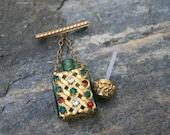Vintage Green Glass Gold Filigree & Rhinestone Perfume Bottle Brooch Pin