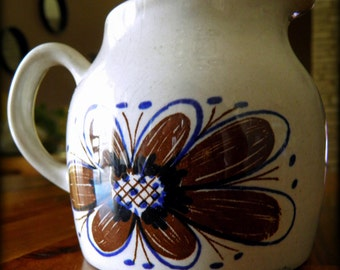 "Mid Century Stavangerflint (Norway) 3-1/2"" H x 4-1/2"" W Creamer--Gray Background with Blue and Brown Flowers--Charming and Cheerful"