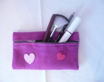 Purple Felt purse, Purple pencil case with hearts, Purple felt cosmetic bag, Purple purse with two hearts, Purple zipper pouch, Fabric pouch