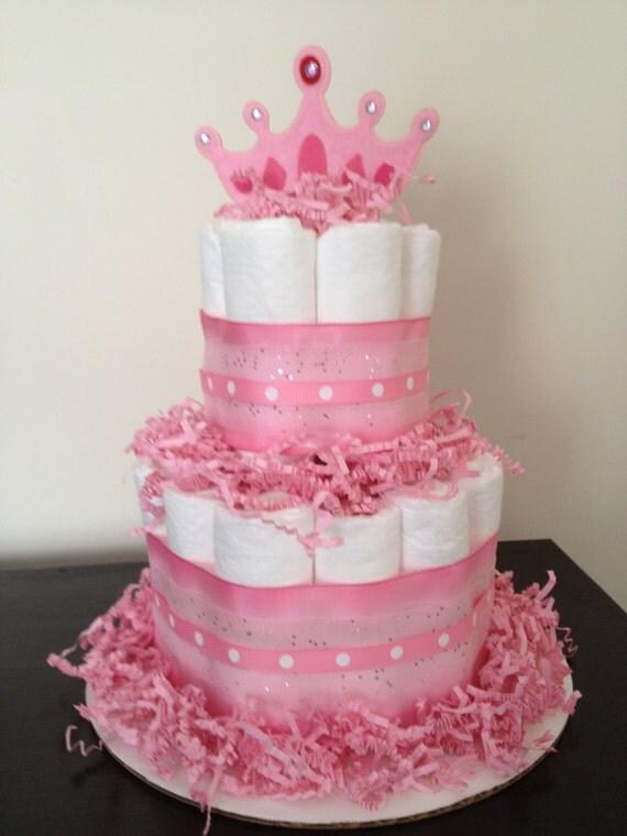 Mini 2 Tier Princess Diaper Cake Girl Baby By