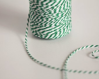 Kelly Green & White  - 110 Yards - Cotton Bakers Twine - 330 feet - Forest Emerald Green