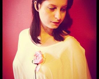 Pink Rose Rosette Pin~Corsage
