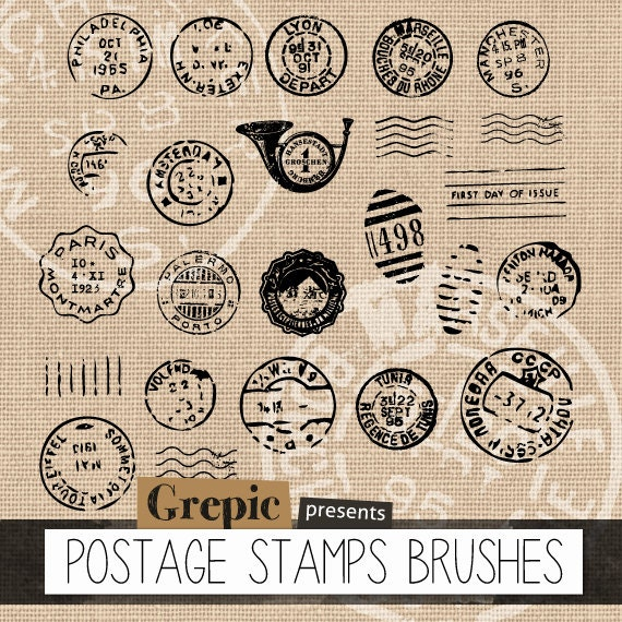 """Photoshop Brush Postage Stamps: """"POSTAGE STAMPS BRUSHES"""