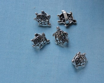 Silver Turtle Spacer Bead for Licorice Leather bracelet